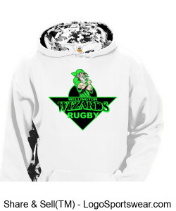 Youth White/ Pattern Poly Hoodie with Crest Design Zoom