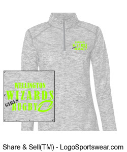 Ladies Gray Heather 1/4 Zip- Girls Rugby Design Zoom
