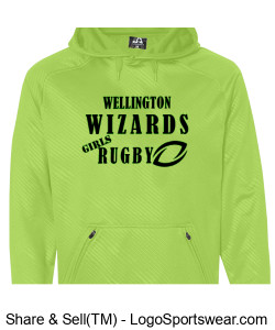 Adult Performance Green Hoodie- Girls Rugby Design Zoom