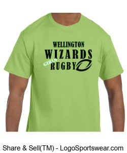 Men's Green Cotton Tshirt- Girls Rugby Design Zoom