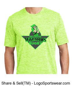Mens Performance Green multi T-Shirt with Crest Design Zoom