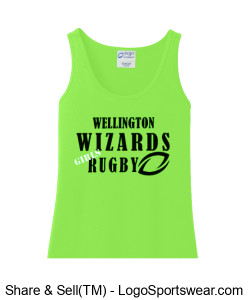 Women's Green Cotton Tank- Girls Rugby Design Zoom