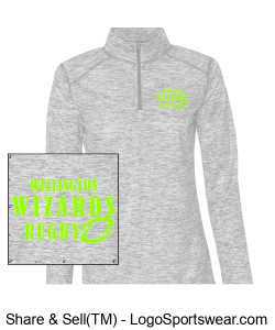 Ladies Grey Heather 1/4 Zip Design Zoom