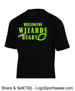 "Men""s Black Performance T- Girls Rugby Design Zoom"