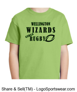 Youth Green Cotton T-Shirt- Girls Rugby Design Zoom