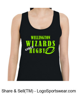 Ladies Cotton Racerback Tank- Girls Rugby Design Zoom